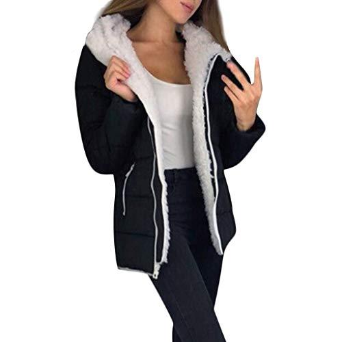 Xinantime Womens Winter Thicken Coats Long Sleeve Warm Jacket Outerwear Zipper Coat Plus Size Warm Tunic Black