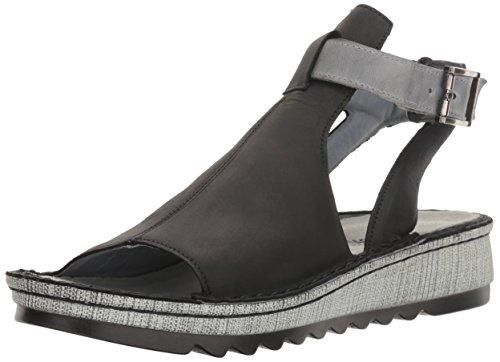 Naot Footwear Women's Verbena Sandal Black Velvet Nubuck/Vintage Slate Lthr 8 M US ()