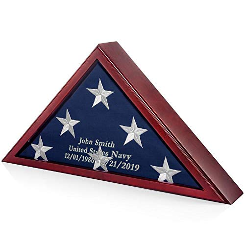 SmartChoice Honors Memorial Flag Display Case for Burial and Presentation Flags, American and Foreign Military Service Commemoration, 5x9 Feet (with Engraving) ()