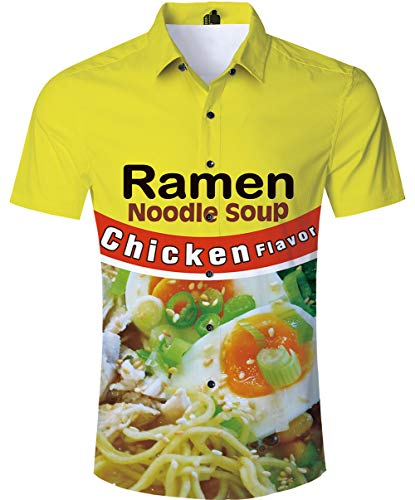 (SKYRAINBOW Men's Summer Button Down Shirts Casual Funny Chicken Ramen Noodle Soup Cool Hawaiian Beach Aloha Short Sleeve )