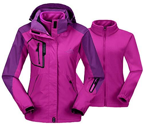 TBMPOY Women's Windproof Hooded Fleece Mountain Ski Warm Raincoat(Purple,us L)