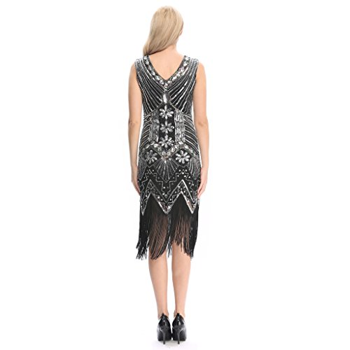 Pilot-trade Lady Deluxe 1920s Roaring 20s Flapper Costume Pearl Sequin Outfit Fancy Dress (6-8,Silver)