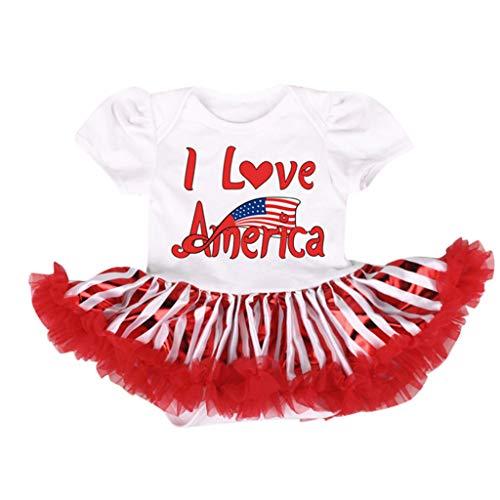 Shusuen Infant Baby Girls Romper Bodysuit Jumpsuit Outfit Summer Lace Dresses Tutu Star Stripe American Flag Print Shirt -