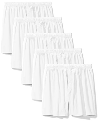 Amazon Essentials Men's 5-Pack Solid Tagless Boxers, White, X-Large