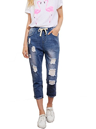 SweatyRocks Women's Juniors Distressed Ripped Drawstring High Waist Capris Crop Jeans Blue M