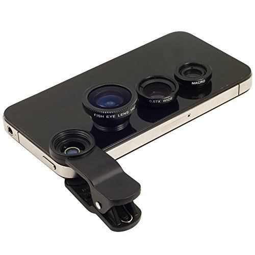 Black Universal Clip-on 180 degree 3 in 1 Camera Lens for iPhone 5 5S 4 4S 6 Samsung Galaxy S5/S4/S3 Note 4/3/2 (Iphone Lens Camera 4)