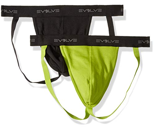 2(X)IST Evolve Men's Cotton Comfort Jock Strap Underwear Multipack Underwear, Black/Macaw Green, Small