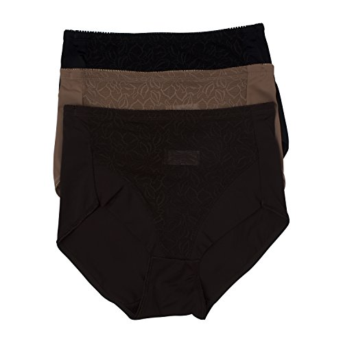 Kathy Ireland Womens 3 Pack Full Coverage Smoothing Microfiber Shaping Brief Brown,Bronze,Black - Lace Shaping Brief