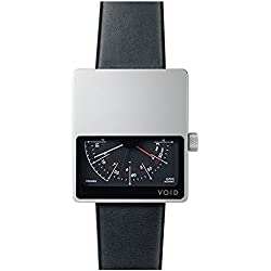 Void V02MKII-SI/BL Men's Analog Black Leather Band Black Dial Watch