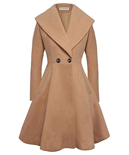 AJ FASHION Women's Wool Trench Coat Lapel Wrap Swing Winter Long Overcoat Jacket, Camel, US XS=Tag S