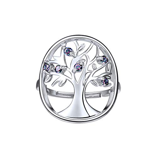 Thanksgiving Tree Design Ring Rainbow CZ Inlaid 925 Sterling Silver Filigree Style Free Size Rings