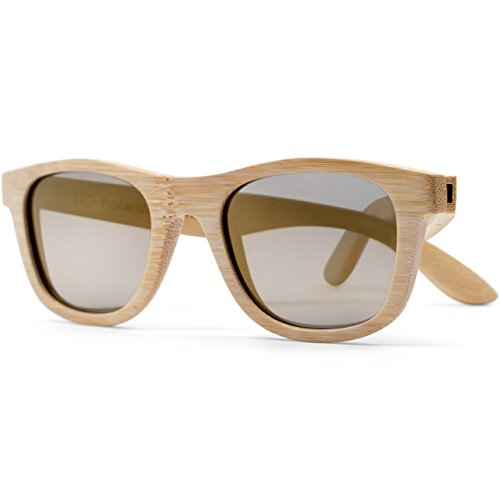 Jetty | Wayfarer Wood Floating Sunglasses, Bamboo Frames, Polarized HD Lenses, Men's/Women's (Natural Color Frame, Gold Reflective Mirrored - Best Sunglasses Compare
