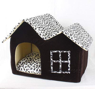 FidgetGear New Classical Milch Cow Double Room Pet Dog Cat House Bed Brown Medium Kennel