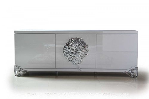 hite Lacquer Buffet With Accent Floral Emblem (White Lacquer Buffet)