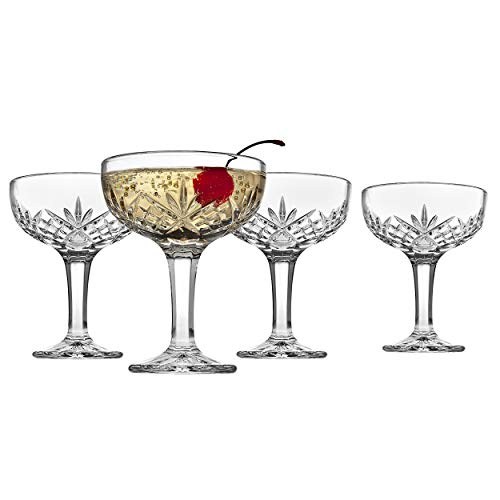 Godinger Champagne Coupe Barware Glasses - Set of 4, Dublin Crystal -