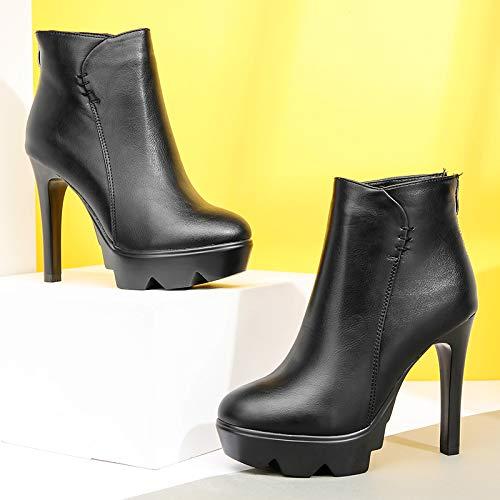 LBTSQ-Mode Damenschuhe Kurze Stiefel High 11Cm Winter Winter Winter Dünn Und Wasserdicht Einfache Martin Stiefeln Dicken Hintern Blanken Stiefeln. 8f6dc4