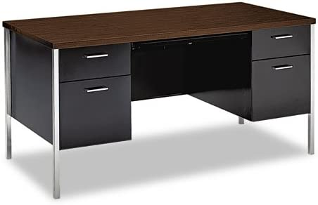 Hon Double Pedestal Desk, 60 x 30 x 29-1 2 , Walnut Black