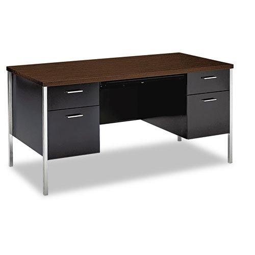 HON Double Pedestal Desk, 60 by 30 by 29-1/2-Inch, Walnut/Black (Series Pedestal Right 34000)
