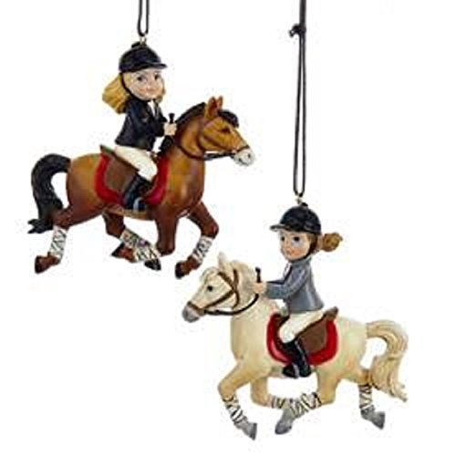Resin English Little Girl Riding Horse Chrismas Ornaments 2 ()