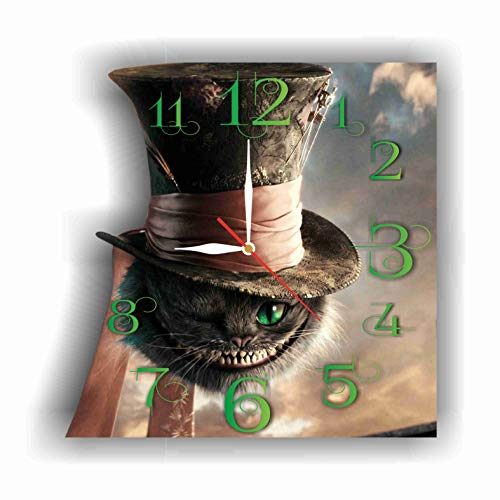 Alice in Wonderland - Cheshire Cat 11.8'' Handmade Wall Clock - Get Unique décor for Home or Office - Best Gift Ideas for Kids, Friends, Parents and Your Soul Mates