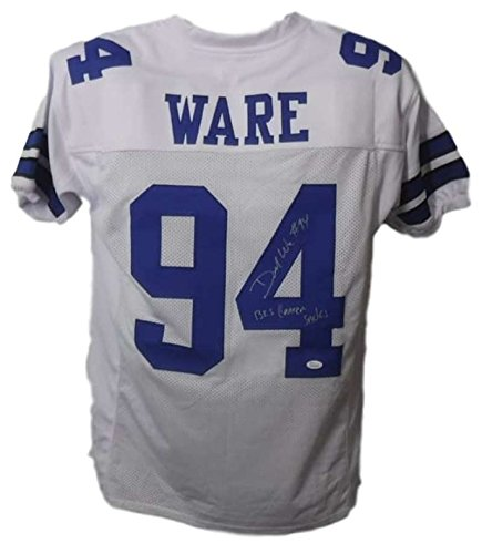 Demarcus Ware Autographed Dallas Cowboys White XL Jersey 138.5 Career Sacks JSA