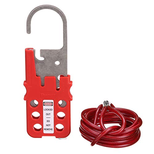 Panduit PSL-MLD Multiple Lockout Hasp with 6-Foot Vinyl Coated Galvanized Steel Cable, Red