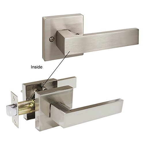 Probrico Square Passage Door Lever Set Keyless Interior Door Handles Lock Brushed Nickel Finish, 6 Pack by Probrico (Image #2)