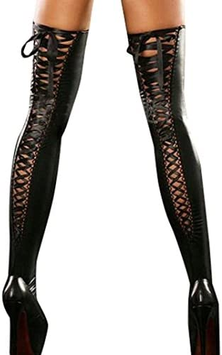 bd0e29dd7f2cb Victorcn Sexy Club Women String Thigh-high Stockings Leather Lace Bow Long  Socks (Black