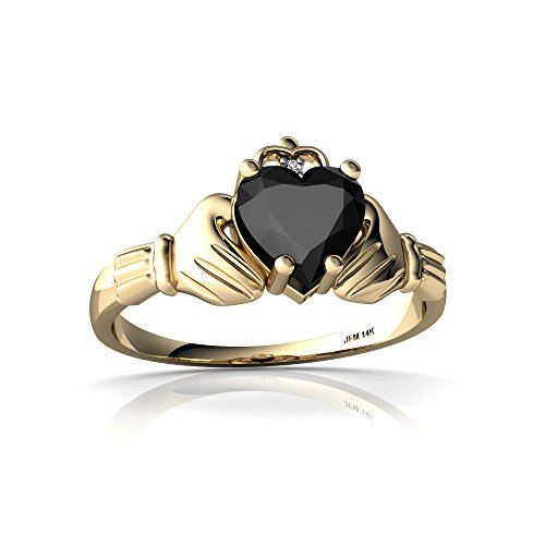 14kt Yellow Gold Black Onyx and Diamond 6mm Heart Claddagh Ring - Size 7.5