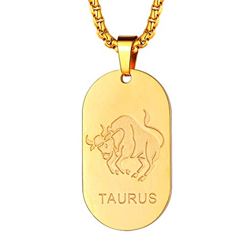 FaithHeart Customizable Astrology 12 Constellation Horoscope Necklace, Stainless Steel Taurus Dog Tag Pendant Necklace Birthday Gifts Lucky Charms (Gold)