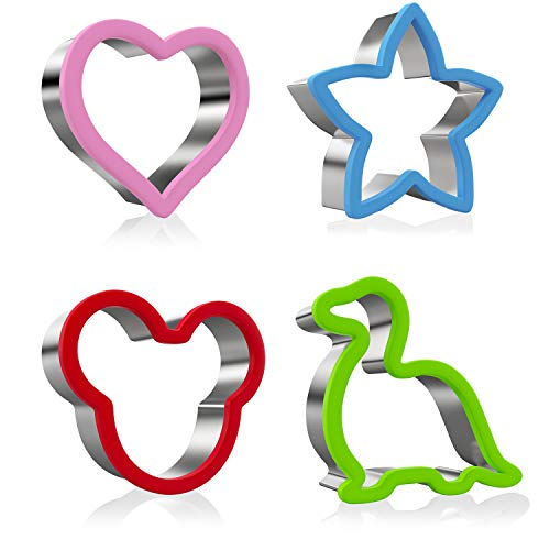 Ouddy Cookie Cutters Set of 4, Stainless Steel Sandwich Cutters Shaped Mickey Mouse Dinosaur Star Heart, Gingerbread Cookie Cutters for DIY and Party ()