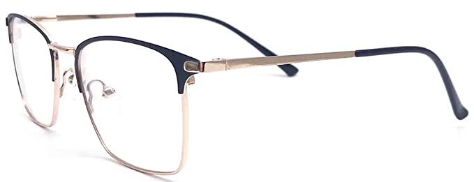 2c7c651f2c4 Stainless Steel Metal Eyeglasses Frame for Men Women Square Shape Business  Style Eyeglasses Frame (Black