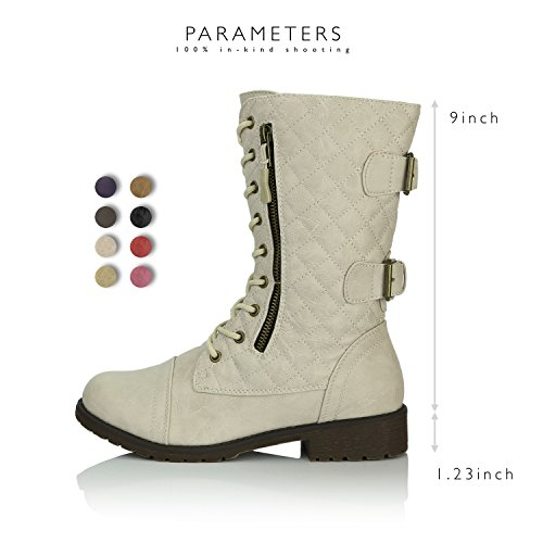 DailyShoes Women's Military Lace up Buckle Combat Boots Mid Knee High Exclusive Quilted Credit Card Pocket, Quilted Ivory White Pu, 13 B(M) US by DailyShoes (Image #3)