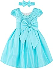 A&J DESIGN Baby Girls' Wedding Party Princess Rhinestone Dress with Headband