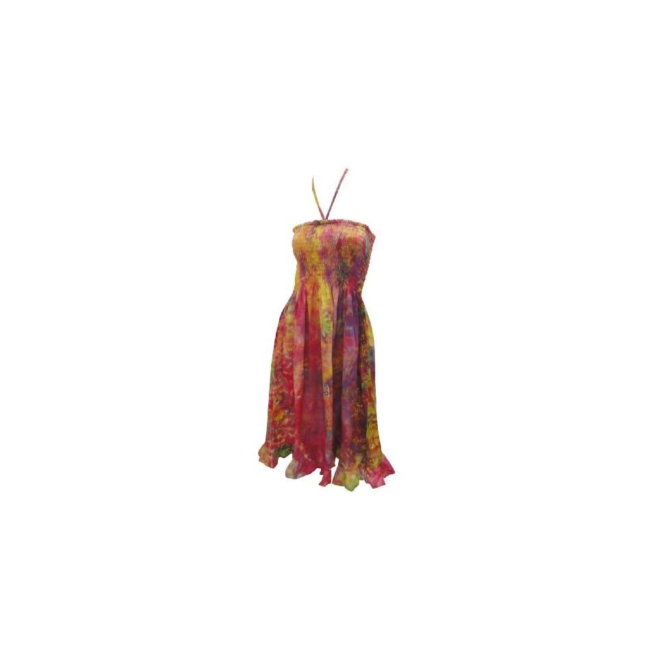 La Leela Pink Frill Worked Printed Cotton Halter Short Tube Dress