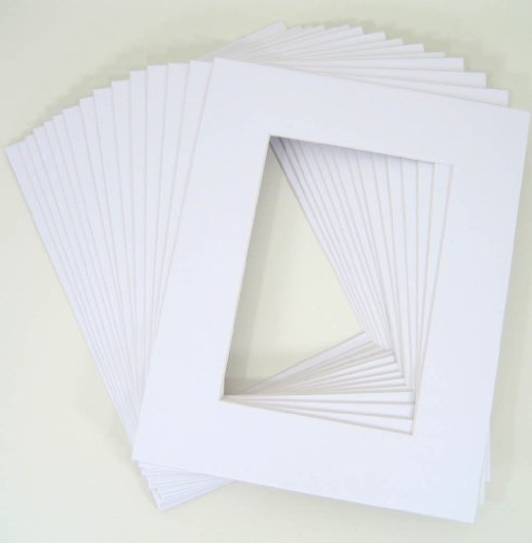 Pack of 25 8x10 WHITE Picture Mats Mattes with White Core Bevel Cut for 5x7 Photo + Backing + Bags by Golden State Art