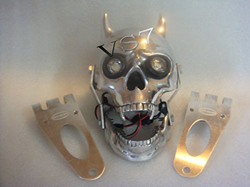 RS Vintage Parts EBY0091 Royal Enfield Harley Chopper Bobberr Skull Headlight With Light In ()