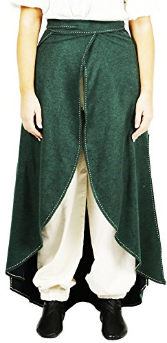 Calvina Costumes Maya Medieval Wool Skirt by Unisex- Made in Turkey, S/M-Green