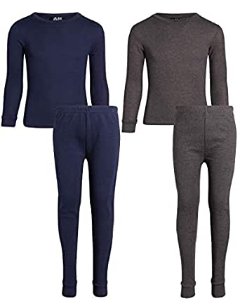 Arctic Hero Boys 2-Pack Thermal Underwear Top and Pant Set - Navy/Charc - 2T