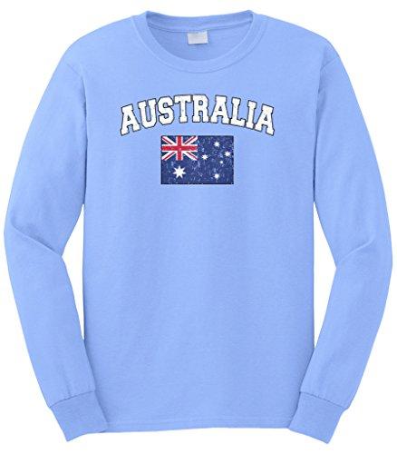 Cybertela Men's Faded Distressed Australia Flag Long Sleeve T-Shirt (Light Blue, 3X-Large)
