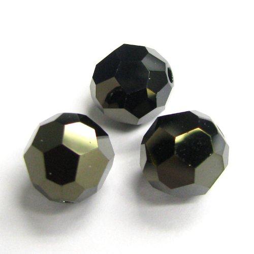 6 pcs Swarovski Crystal 5000 Round Faceted Bead Jet Nut 2x 8mm / Findings/Crystallized Element (Swarovski Crystal Jet Nut)