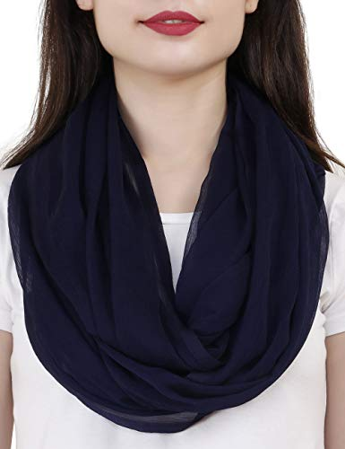 TC Solid Color Soft Lightweight Chiffon Silk Feel Luxury Infinity Scarf India (Navy Blue)