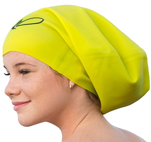 Lahtak™ Extra Large Swimming Cap - Stylish, Waterproof & Elastic Silicone Swim Caps for Long Hair Women & Men | Designed for Long, Thick, Curly or Dreadlocks Hair | Suits Recreational Swimmers