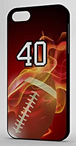 Flaming Football Sports Fan Player Number 40 Black Rubber Decorative iphone 5s Case