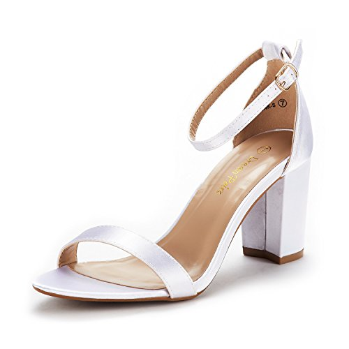 Sparkle Heels Satin - DREAM PAIRS Women's Chunk White Satin Low Heel Pump Sandals Size 7.5 M US
