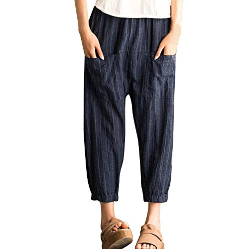 UONQD Women Pants Retro Striped High Waist Loose Elastic Trousers Harem (Medium,Navy) -