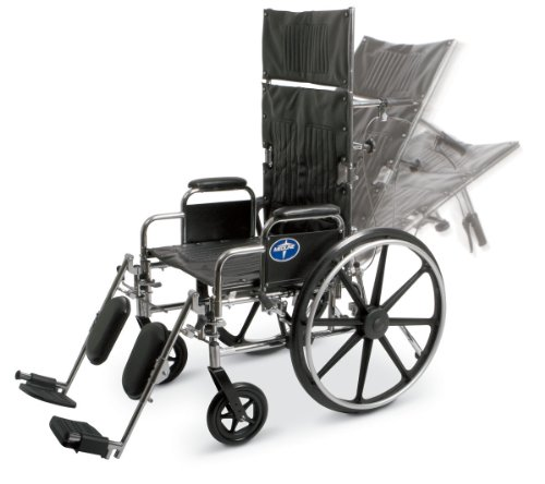 "Medline Reclining Wheelchair, 18"" Wide Seat, Desk Length Arms, Elevating Legrests, Chrome Frame"