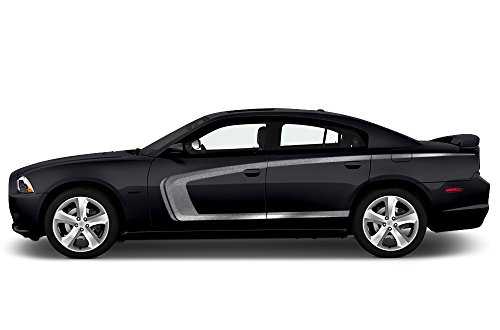 Side Stripe Kit - Factory Crafts Dodge Charger 2011-2014 Side C-Stripe Graphics Kit 3M Vinyl Decal Wrap - Silver