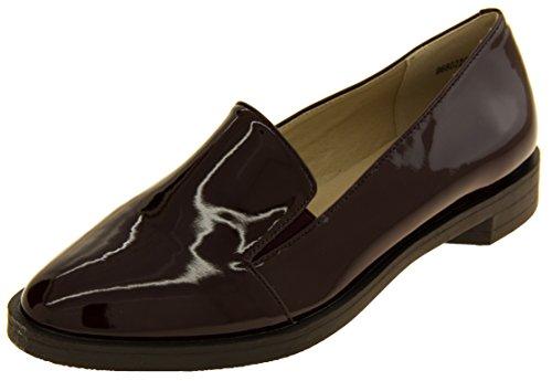 Studio Chaussures Des Femmes De Betsy Élégant Mocassins En Cuir Verni Faux Plat Chaussures Bordeaux