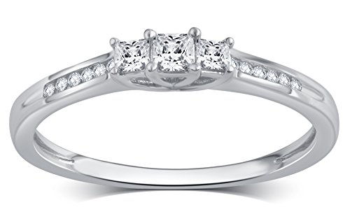 1/4 Cttw Princess Cut Diamond Three Stone Ring in 10K White Gold (Stone Three Diamond Ring)